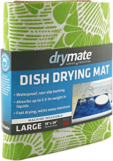 """product image for Drymate Dish Drying Mat, Premium XL Size (19"""" x 24""""), Kitchen Dish Drying Pad – Absorbent/Waterproof – Machine Washable (Made in the USA) (Surf Green 3)"""