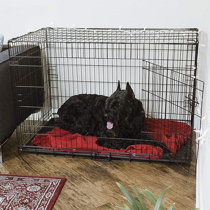 Azyq Jaula para mascotas Jaula de perro plegable de doble puerta ...
