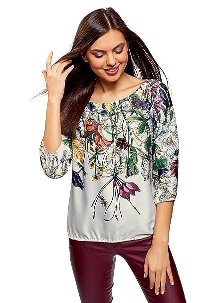 oodji Collection Mujer Blusa Estampada de Gasa, Marfil, ES 36 / XS