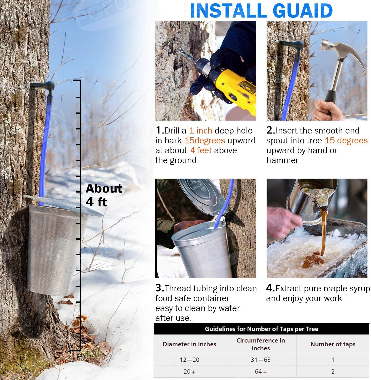 12 Maple Tree Tap Instructions,Blue Drop Lines Spile 12 Maple Syrup Tree Tapping Kit -Laiashley 12 Maple Tree Tube Tap Syrup.