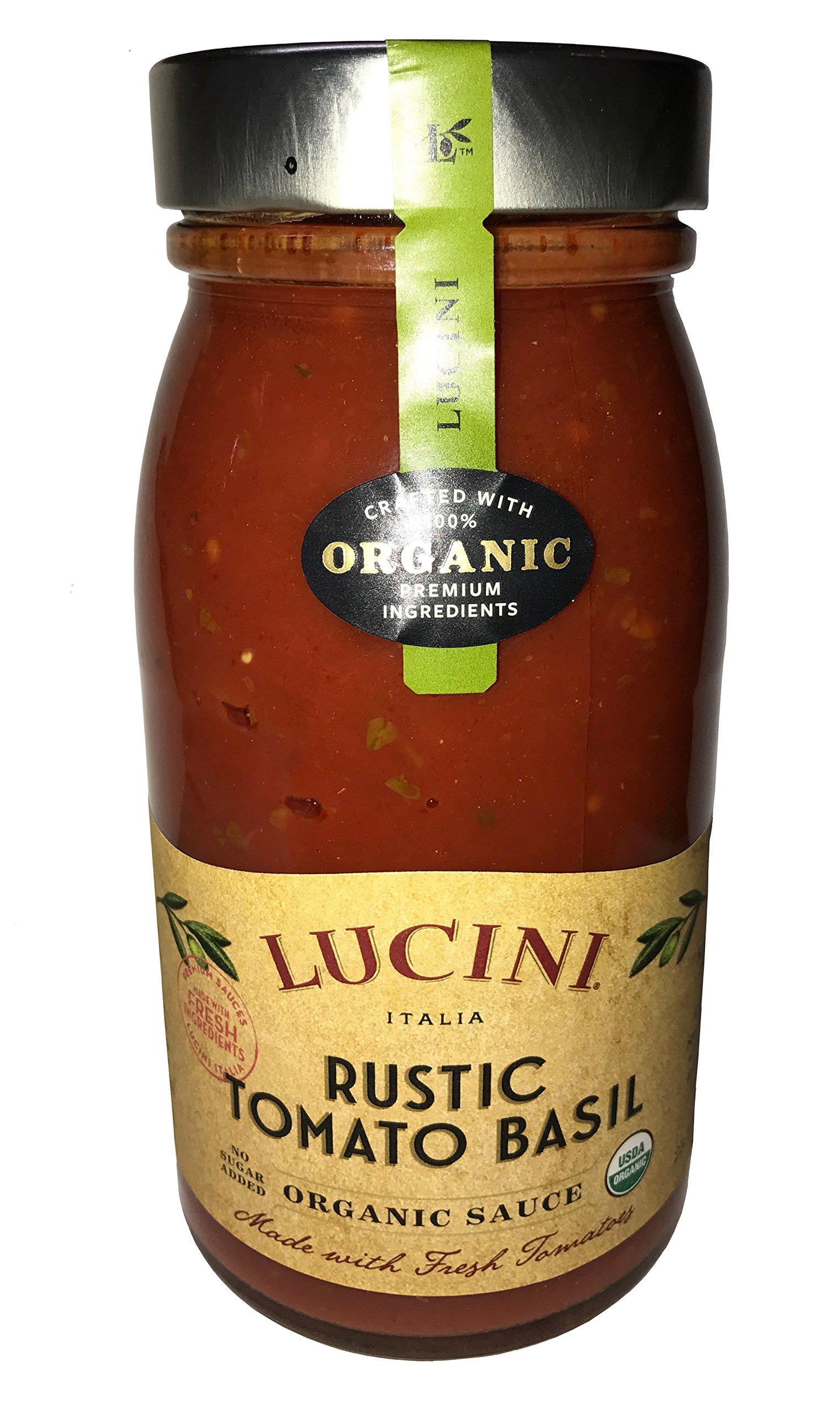 Lucini Italia USDA Certified Organic Rustic Tomato Basil 25.5 oz. (4 Pack)