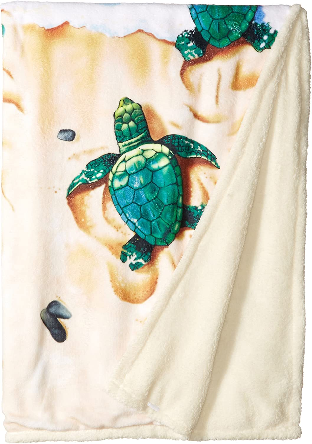 "Liquid Blue Men's Nature Aquatic Turtle Beach Warm Coral Fleece Throw Blanket, multi, 50"" X 60"""