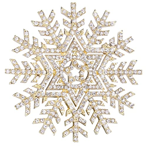 Amazing EVER FAITH Gold Tone Austrian Crystal Winter Snowflake Flower Star Elegant Brooch  Pin Clear