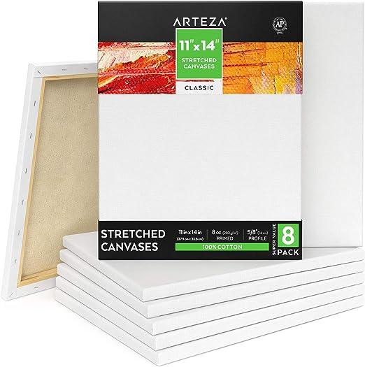 Arteza Lienzo para pintar cuadros | 28x35,5 cm | Pack de 8 | 100 ...