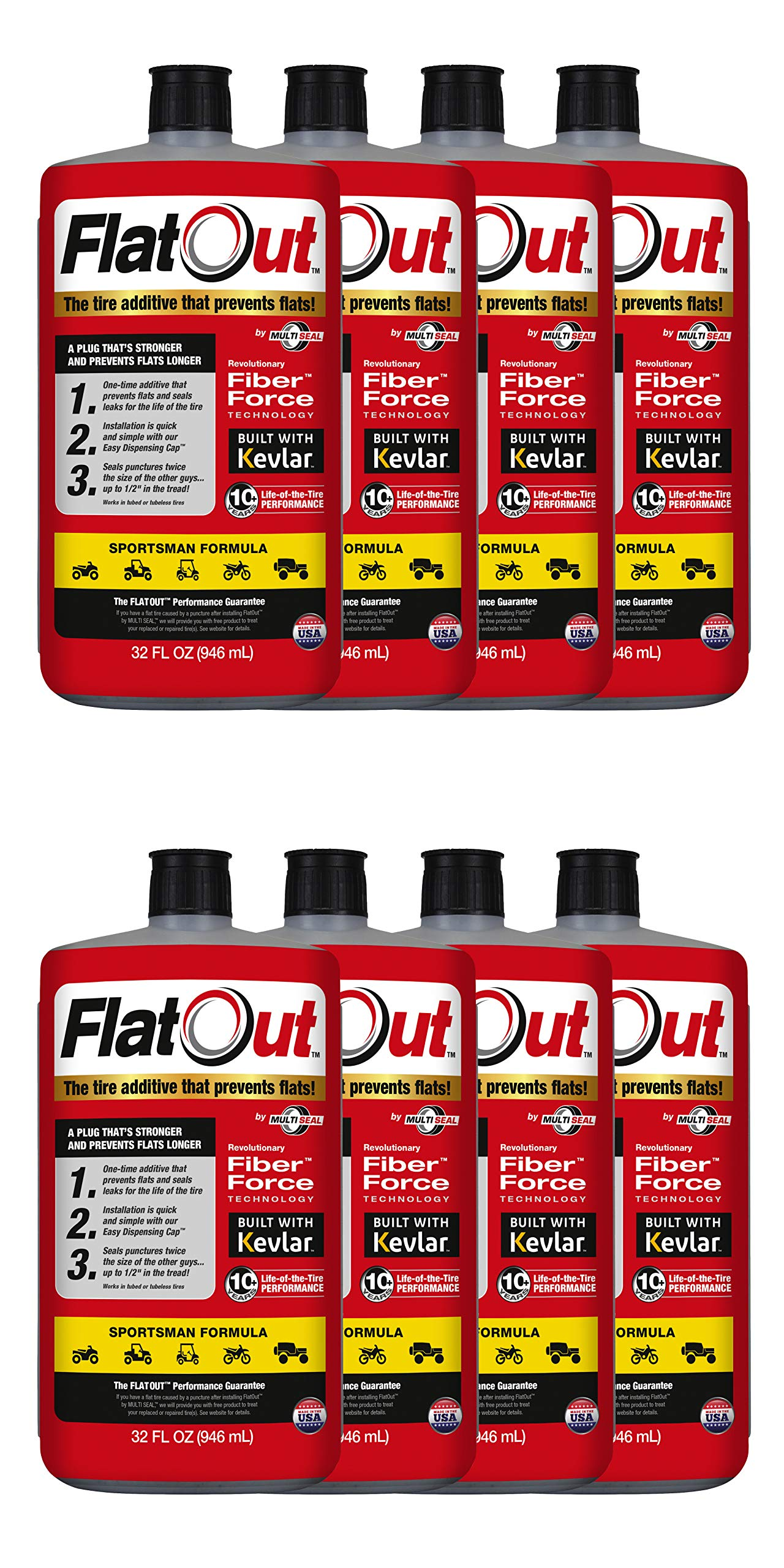 MULTI SEAL 20138 8-Pack (256 oz Sealant) FlatOut Tire Additive (Sportsman Formula), for ATVs, UTVs Sides, Golf Carts, Dirt Bikes, Off-Road-Only Jeeps and More, 8 Pack by MULTI SEAL