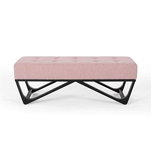 Great Deal Furniture Emily Contemporary Fabric Ottoman Bench, Light Blush and Black