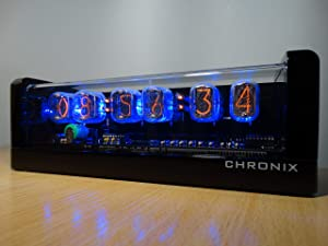 Vintage Nixie Tube Clock with 6xIN-12 displays & Alarm & Blue Backlight & Black Glossy Wooden case CHRONIX