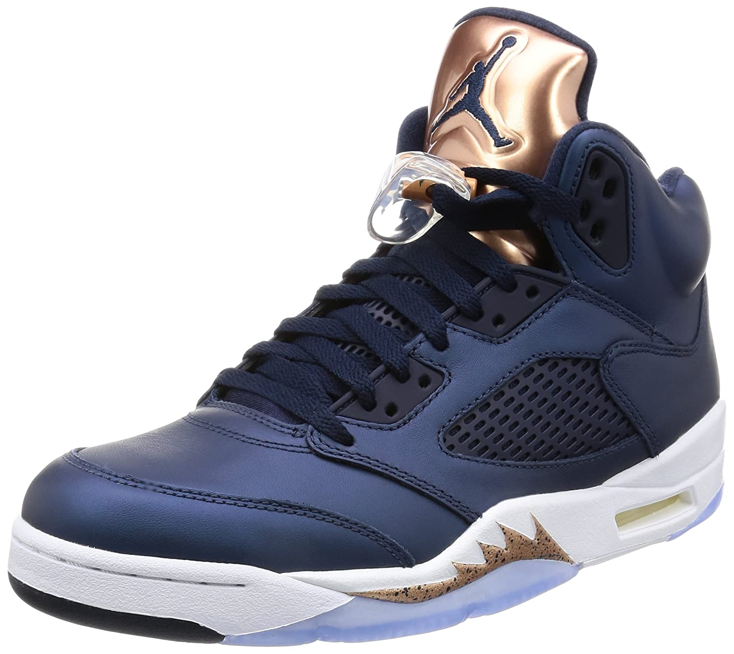 Obsidian, white-metallic red bronze-bright grape Nike Men's Air Jordan 5 Retro Basketball shoes