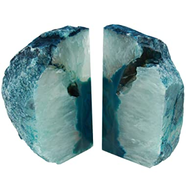 The Royal Gift Shop: Teal Genuine Brazilian Extra Quality Agate Bookends - Home Decor (Teal, 6-9 lbs)