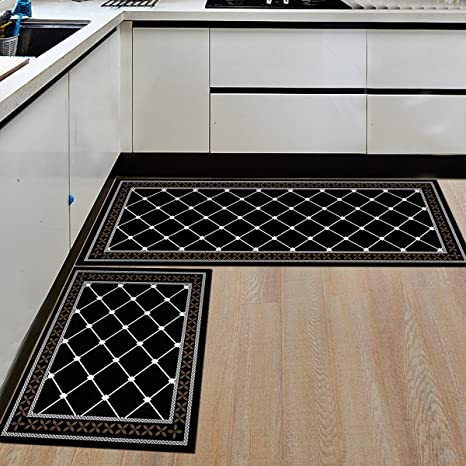 Ustide New 2 Piece Black And White Plaid Kitchen Rug Set Super Soft Crystal Velvet Bathroom Rug Set