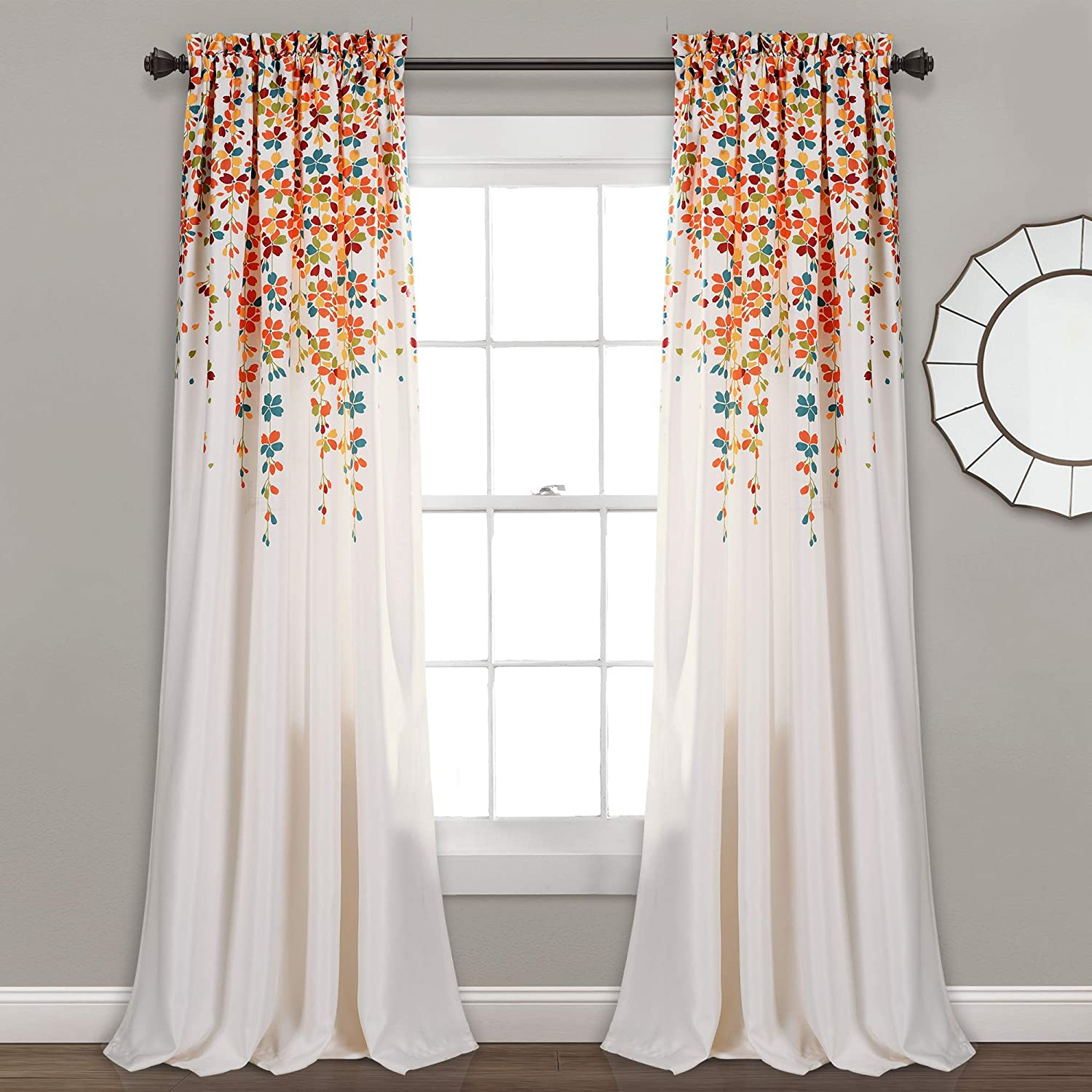 "Lush Decor Weeping Flowers Room Darkening Window Panel Curtain Set (Pair), 84"" x 52"", Turquoise and Tangerine"