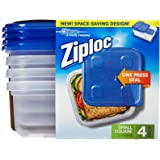 Ziploc Container, Small Square - 40 oz - 4 ct