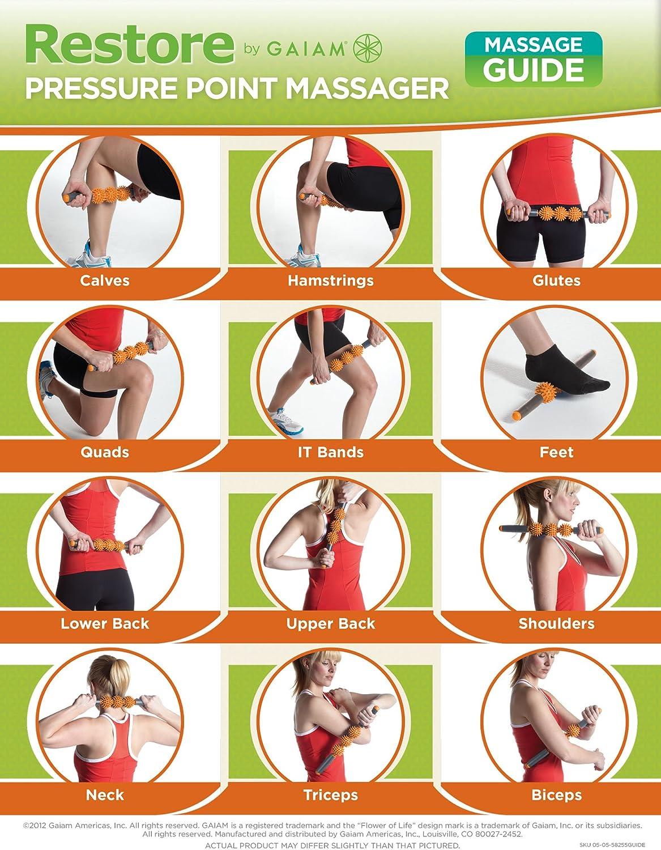 Gaiam Restore Massage Stick Pressure Point Muscle Massage Roller: Sports & Outdoors