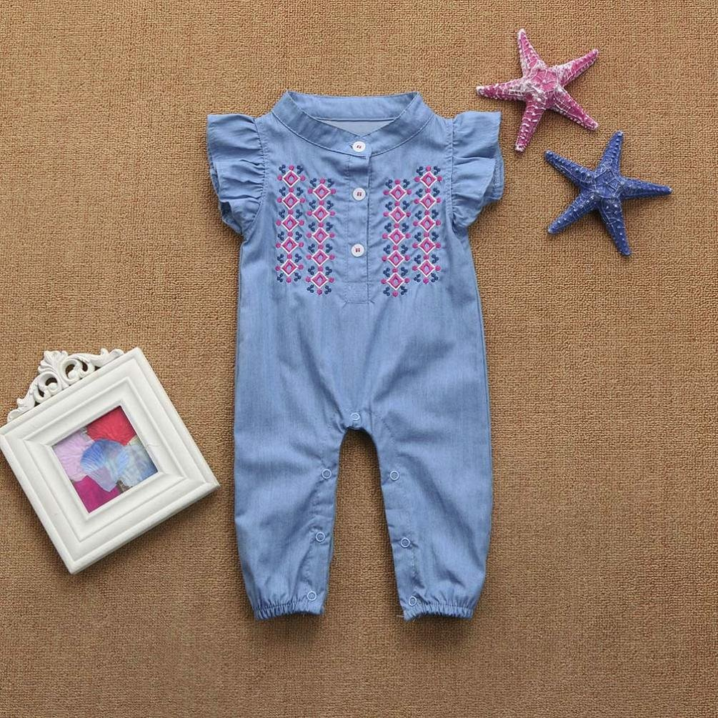 Remiel Store Infant Girls Embroidery Denim Ruffle Sleeve Overall