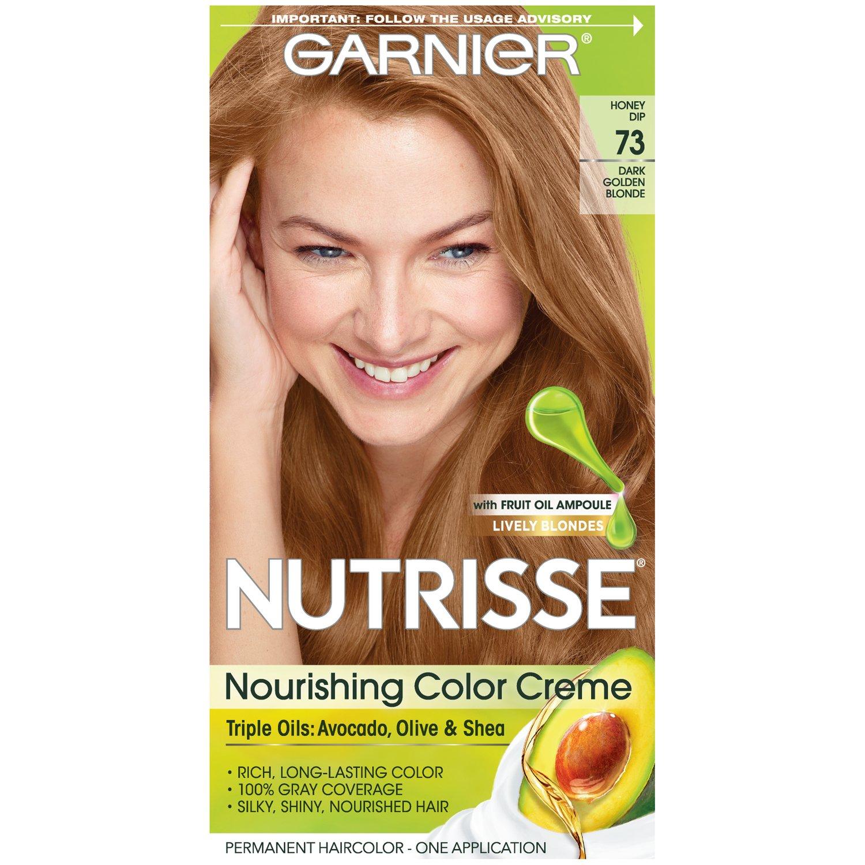 Garnier Nutrisse Nourishing Hair Color Creme, 73 Dark Golden Blonde (Honey Dip) (Packaging May Vary)