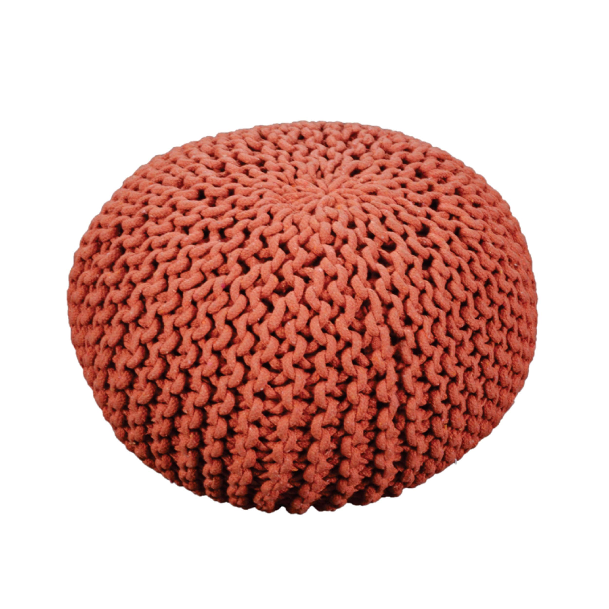 Christopher Knight Home Poona Hand Knitted Artisan Round Pouf (Coral) by Christopher Knight Home