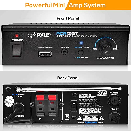 Mini Blue Series Bluetooth Stereo Power Amplifier, Wireless Audio Streaming Amp with USB Charging Audio AUX Input 2 x 25 Watt – Pyle PCA12BT.5_0