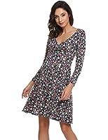 Zeagoo Women's Rayon Wrap Floral Print Flare Summer Dress