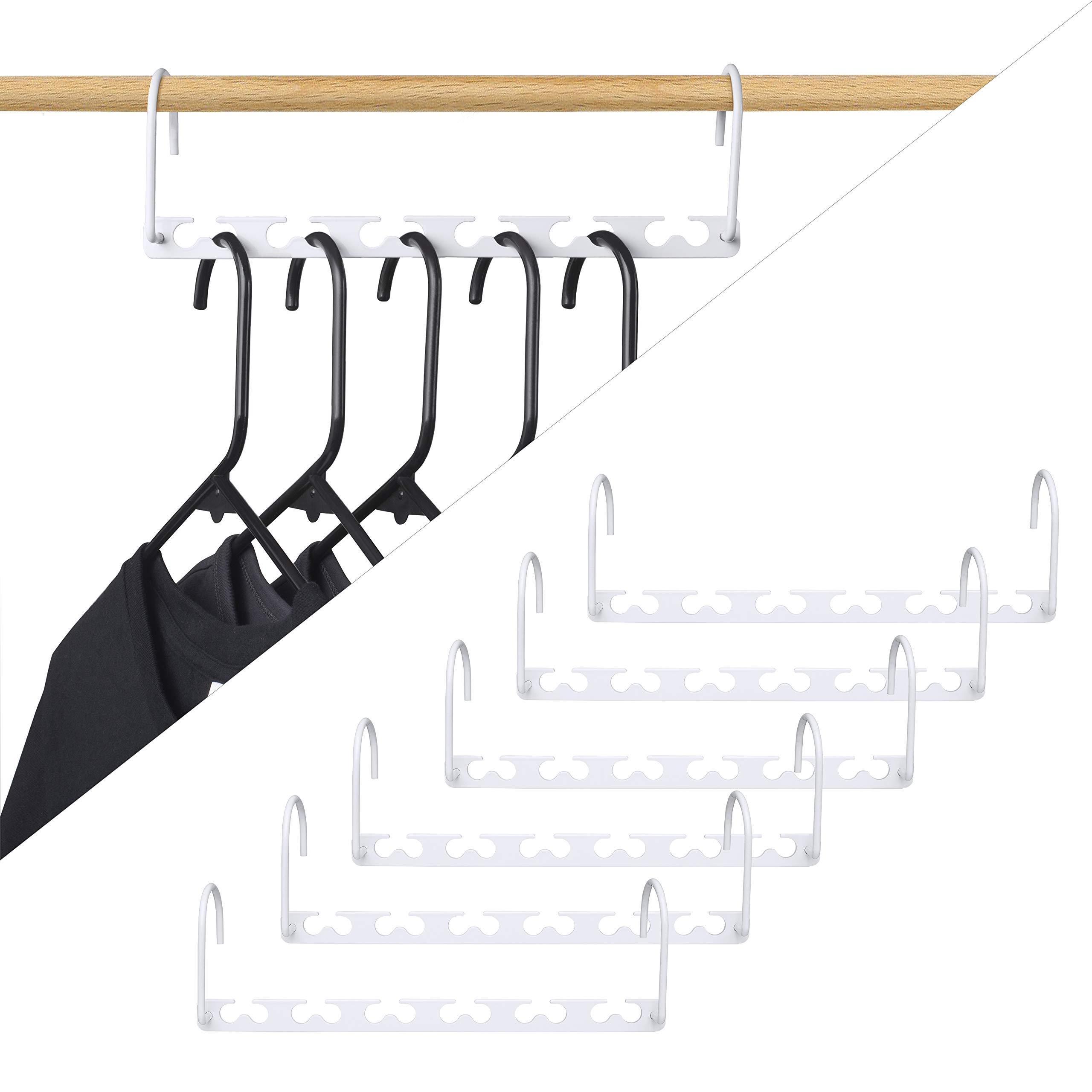 HOUSE DAY 6pcs Magic Hangers Closet Space Saving Wardrobe Clothing Hanger Oragnizer Heavy White Coating Hangers, Updated Hook Design (6)