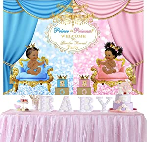 Prince or Princess Gender Reveal Backdrop Pink or Blue Baby Shower Backdrop for Photography Boy or Girl Gender Reveal Backdrop Curtain Surprise Party Banner Decor Cake Table Supplies Props