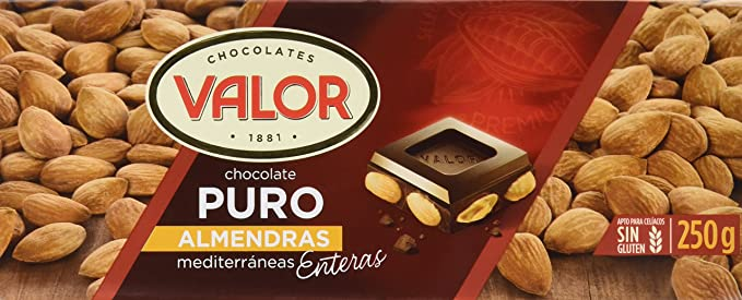 Chocolates Valor - Choholate puro con almendras enteras - 250 g