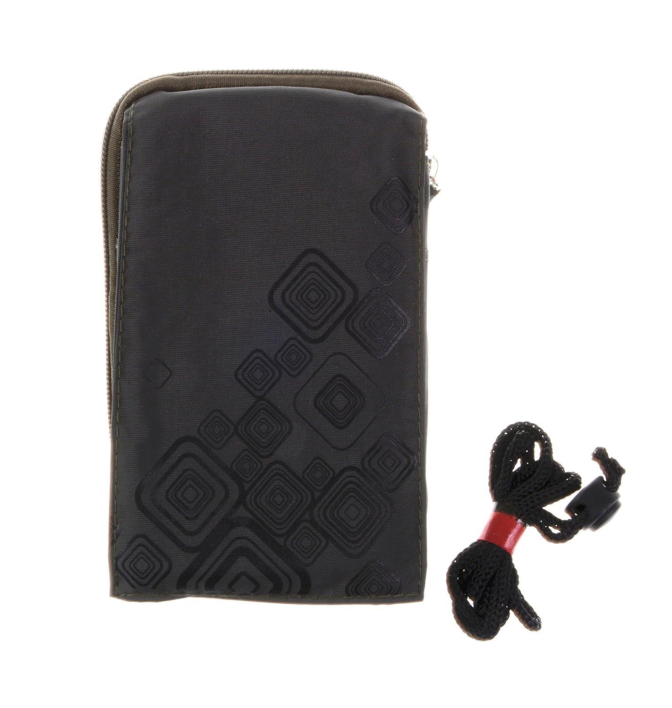 KISS GOLD (TM) Universel Pochette Case Housse Étui Sac Téléphone Portable avec Mousqueton&Cordon en Nylon(Vert Armée) kgph0927-01