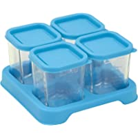 Green sprouts Fresh Baby Food Glass Cube, 118 ml Capacity 4 Pieces, Aqua, 4 Count