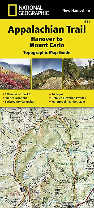 Amazoncom Appalachian Trail Hanover To Mount Carlo New Hampshire - Appalachian trail new hampshire map