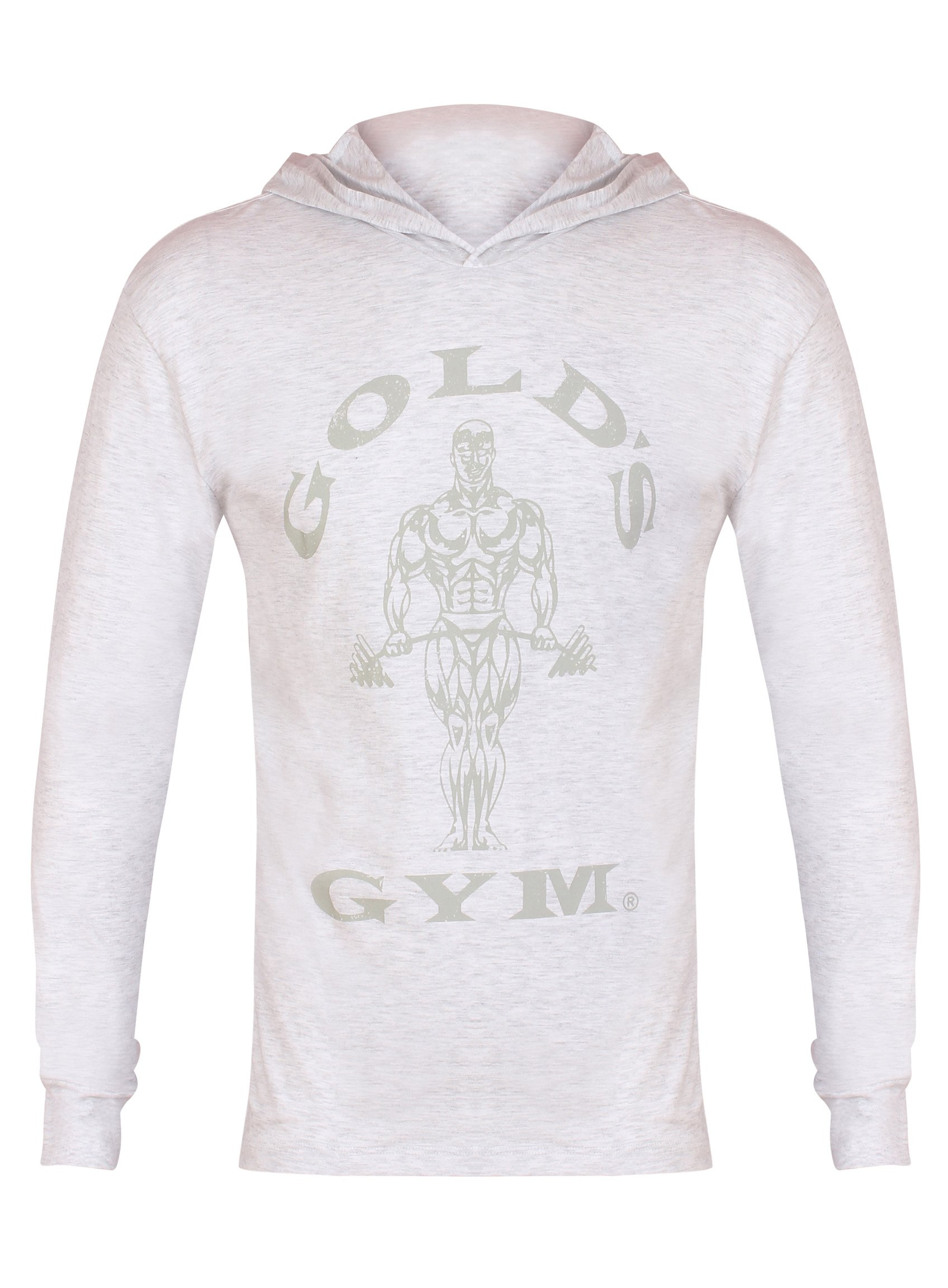 Golds Gym 2017 Long Sleeve Hooded Top Mens Training Sports Hoodie White Marl Small by Golds Gym