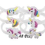 Monqiqi 48 Pack Unicorn Bracelets Party Wristbands for Birthday Party Favor Supplies (Glow Unicorn Bracelets)