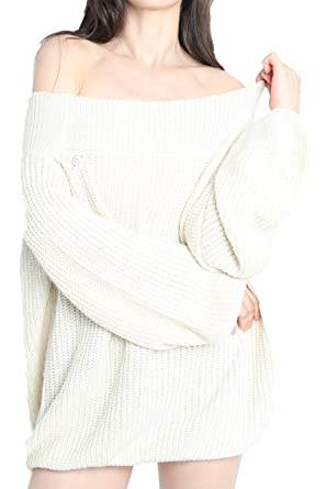 529d0187e87 Liny Xin Women s Winter Cashmere Off Shoulder Puff Sleeve Loose Oversized  Sweater Pullover Knit Wool Tops