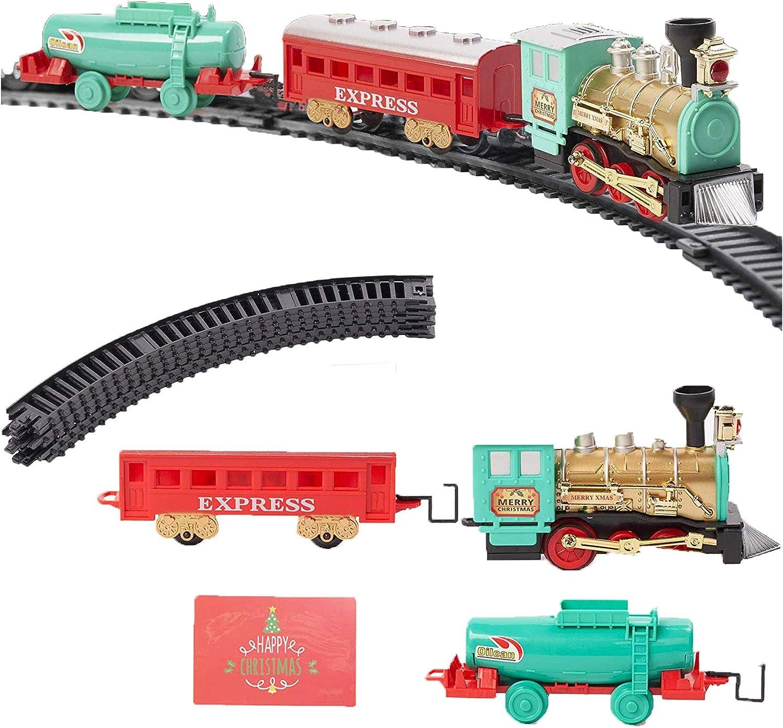 Juguete de Tren Eléctrico Navideño de 11 piezas - Sonidos y Luces realistas, decoración festiva de Navidad y Entretenimiento.
