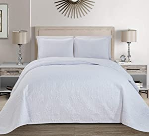 MK Home Mk Collection 3pc King/California King Solid Embossed Bedspread Bed Cover Over Size White