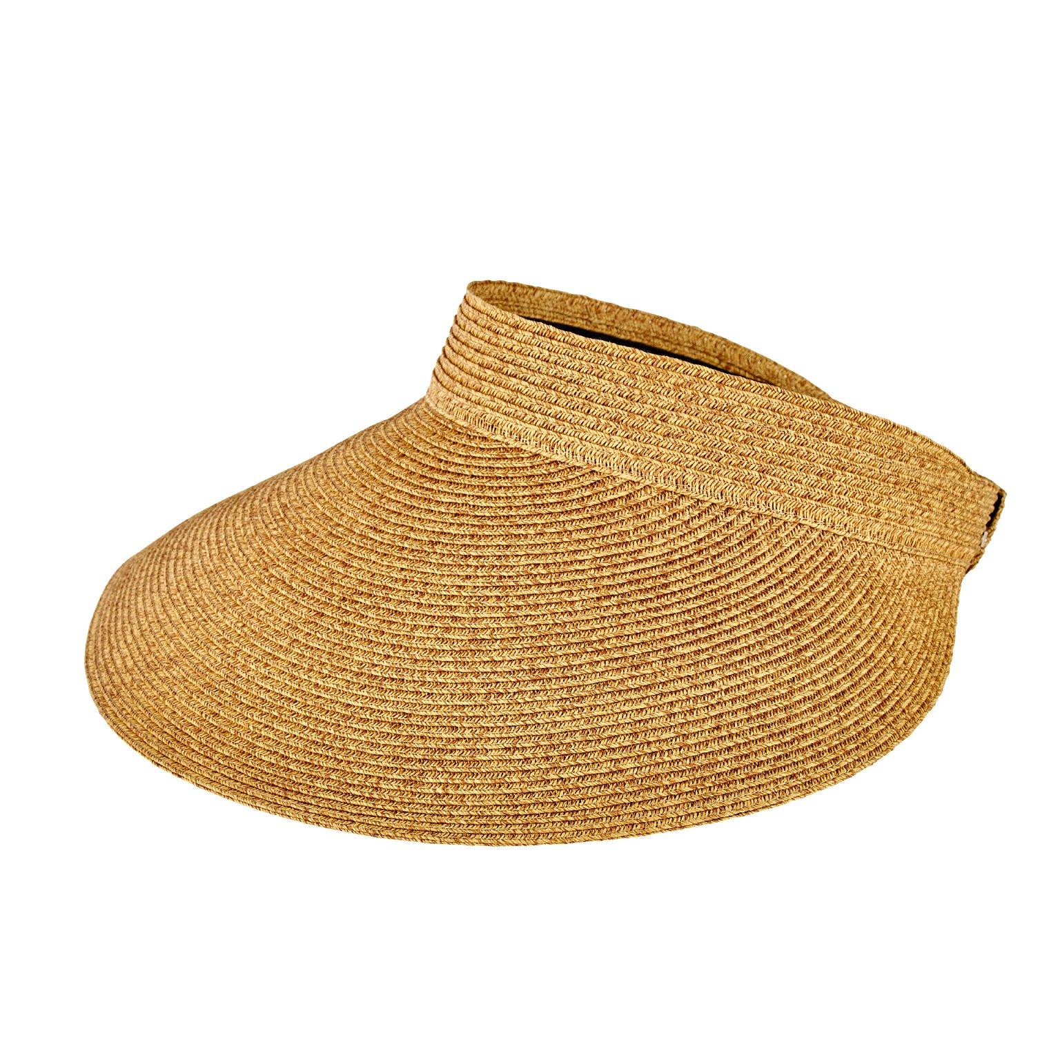 San Diego Hat Company Women's Ultrabraid Large Bill Visor Hat, Natural, OS