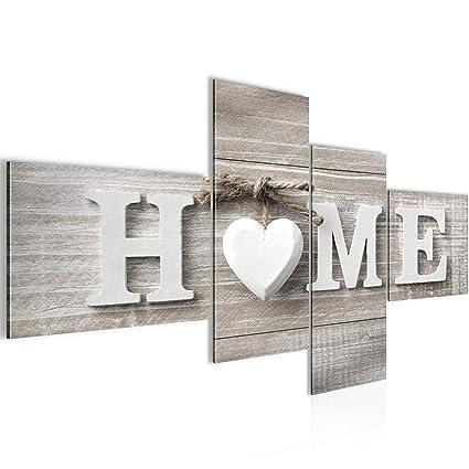 Runa Art Bilder Home Herz Wandbild 200 x 100 cm Vlies - Leinwand Bild XXL  Format Wandbilder Wohnzimmer Wohnung Deko Kunstdrucke Braun 4 Teilig - Made  ...