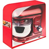 Savisto Food Stand Mixer Cover   Zip Up Anti Dust Cover with Clear Window and Storage Pocket - Red