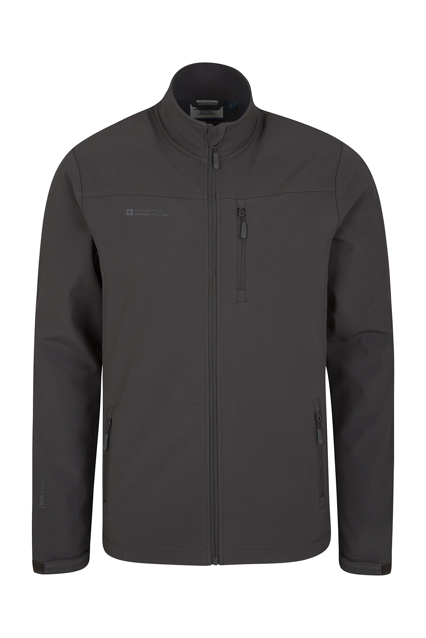 Mountain Warehouse Grasmere Mens Softshell Jacket -Breathable Raincoat Dark Grey XXX-Large