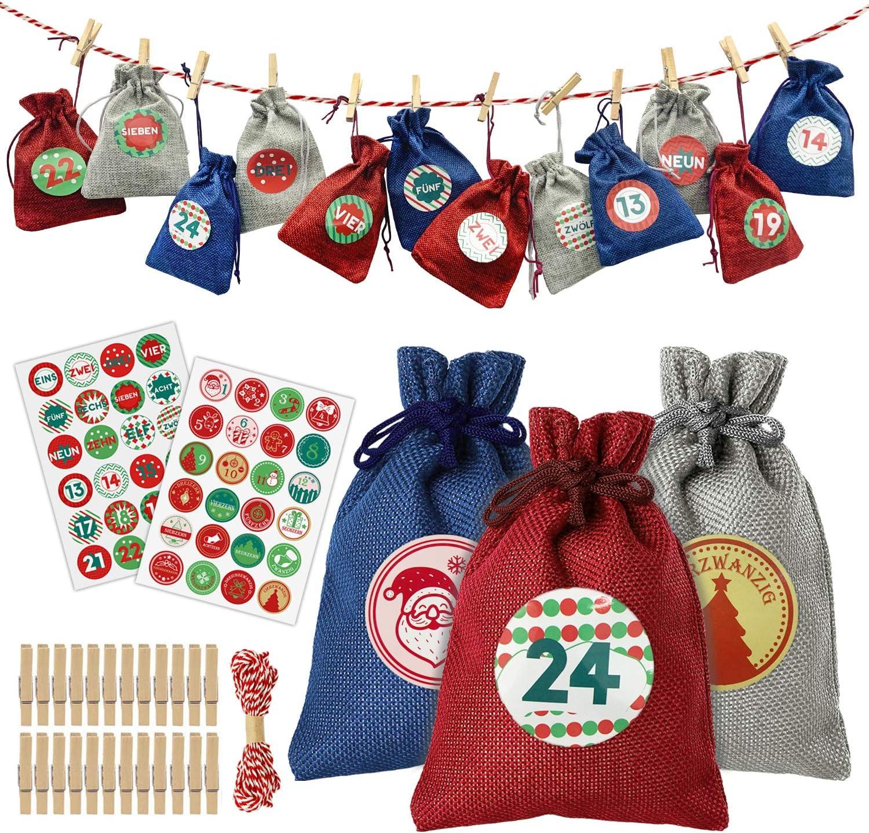 Calendario Adviento Rellenables Set de 24, Bolsas de Yute de Calendario de Adviento para Niños, Decoración Navideña Bolsa de Regalo con Pegatinas Numeradas de 1-24 Números de Adviento y 48 Patrones