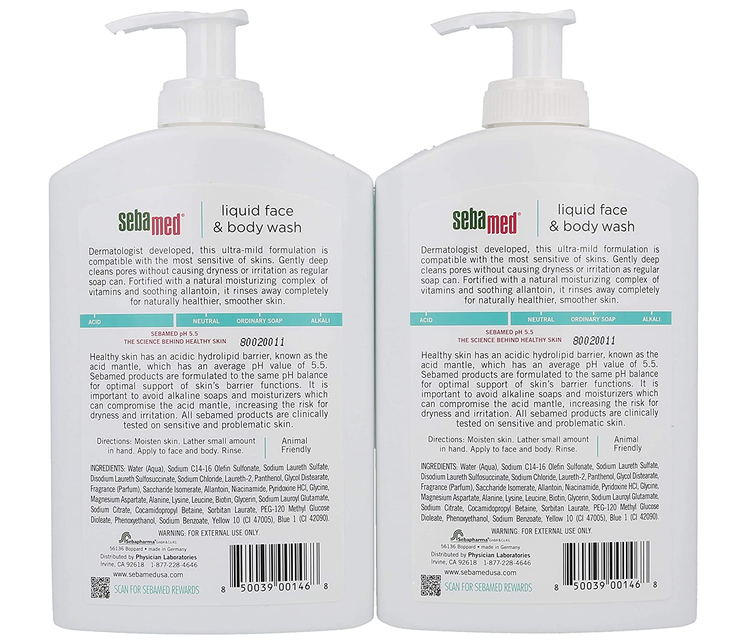 Sebamed Liquid Face Body Wash with Pump, 400ml, 2 Pack