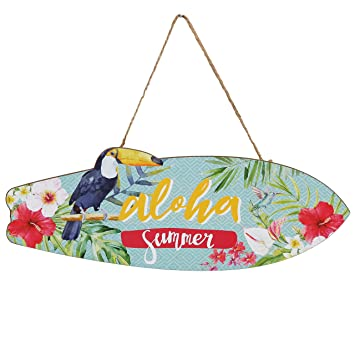 Woodpassion Aloha Summer hängeschild 30 x 10 cm Surf Cartel de madera Verano Tabla de Surf Caribe Tropic decorativa MDF: Amazon.es: Hogar
