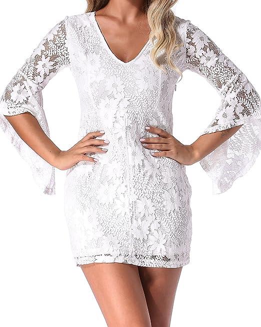Auxo Mujer Vestidos Cortos De Encaje con Mangas Cortas Sin Espalda Dress Mini para Fiesta Blanco