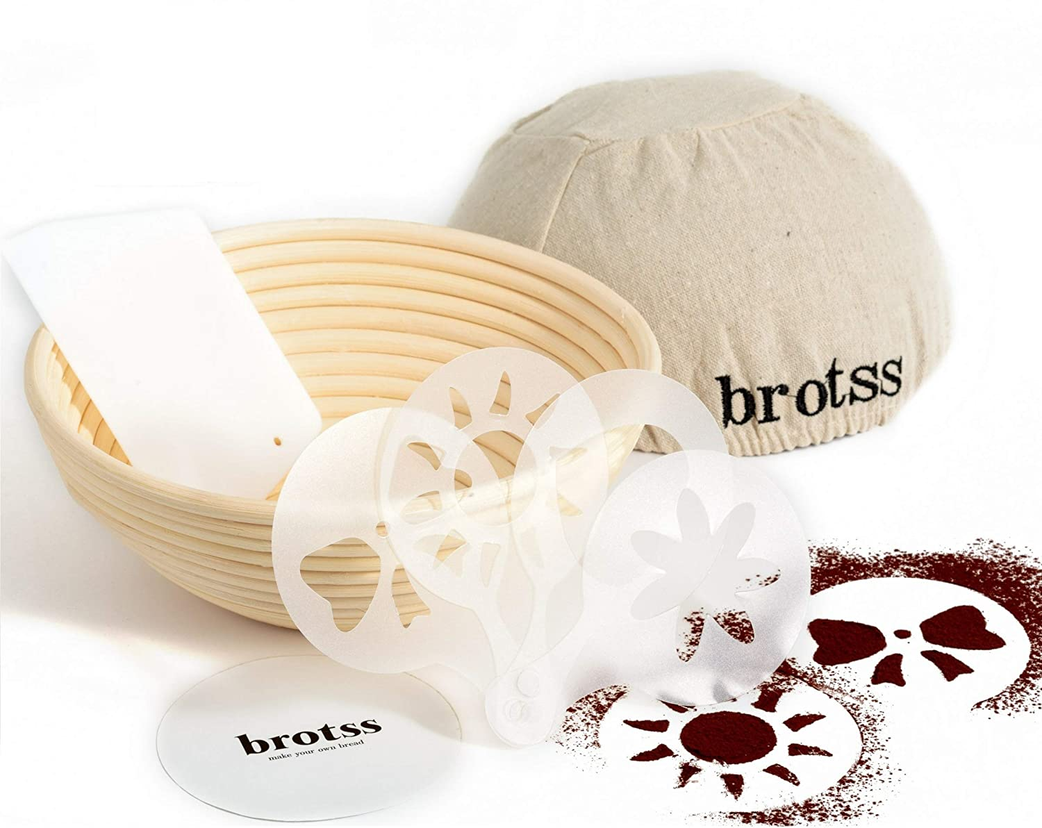 14 items Banneton Proofing Basket Set with 10 Artisan Bread Stencils, Cloth Liner Linen, Bowl Scraper for All Bakers/Sourdough Recipe, Brotform Rising Making Round Baked Crispy Dough Crust Boules Loaf brotss