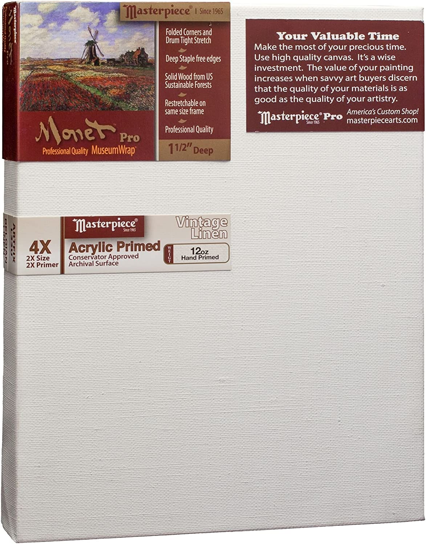 4X Masterpiece Artist Canvas 44099 Monet Pro 1-1//2 Deep 30 x 60 Linen/12.0oz Vintage Acrylic Primed