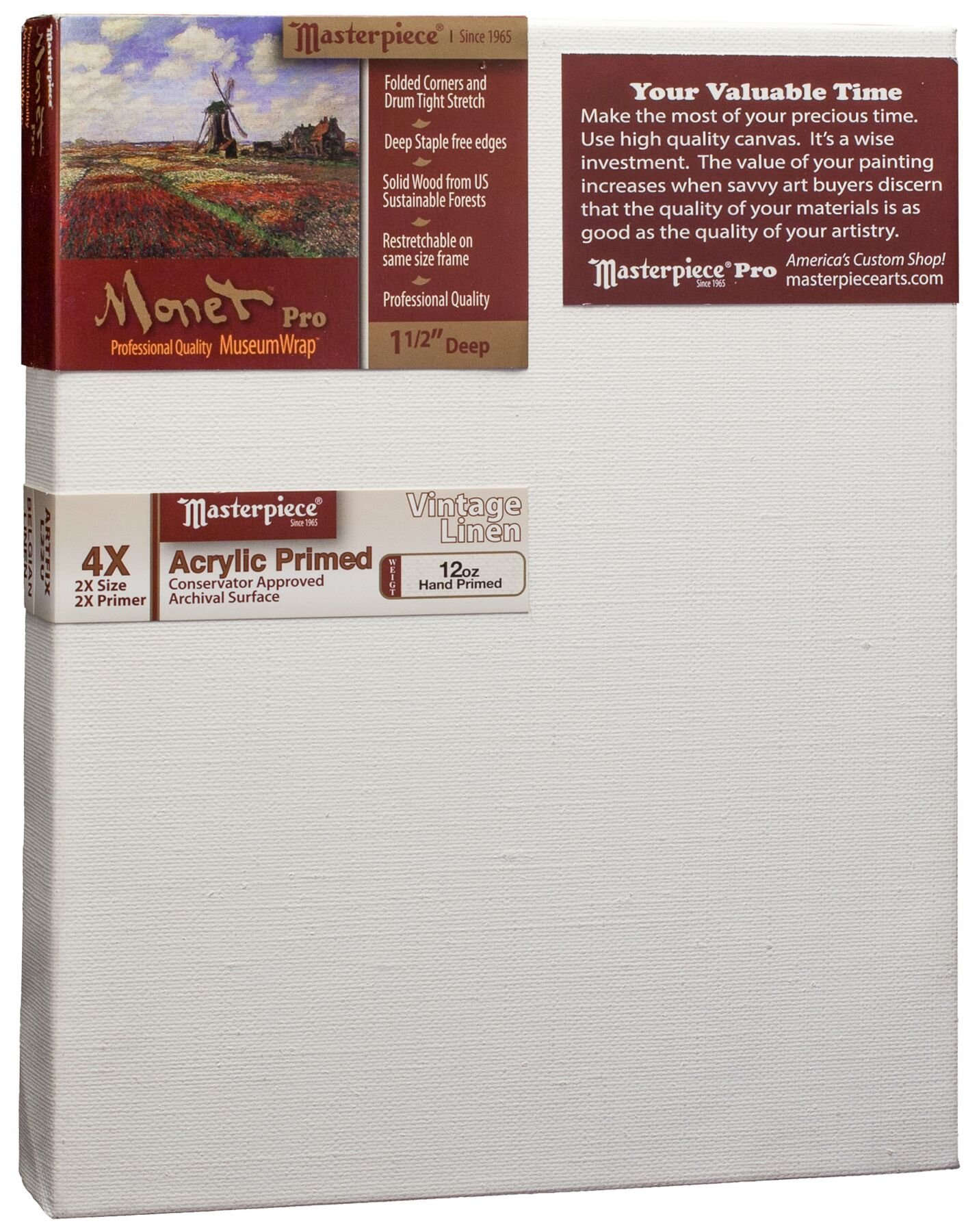 Masterpiece Artist Canvas MU-3645 Monet Pro 1-1/2'' Deep, 36'' x 45'', Linen12.0oz - 4X - Vintage Acrylic Primed