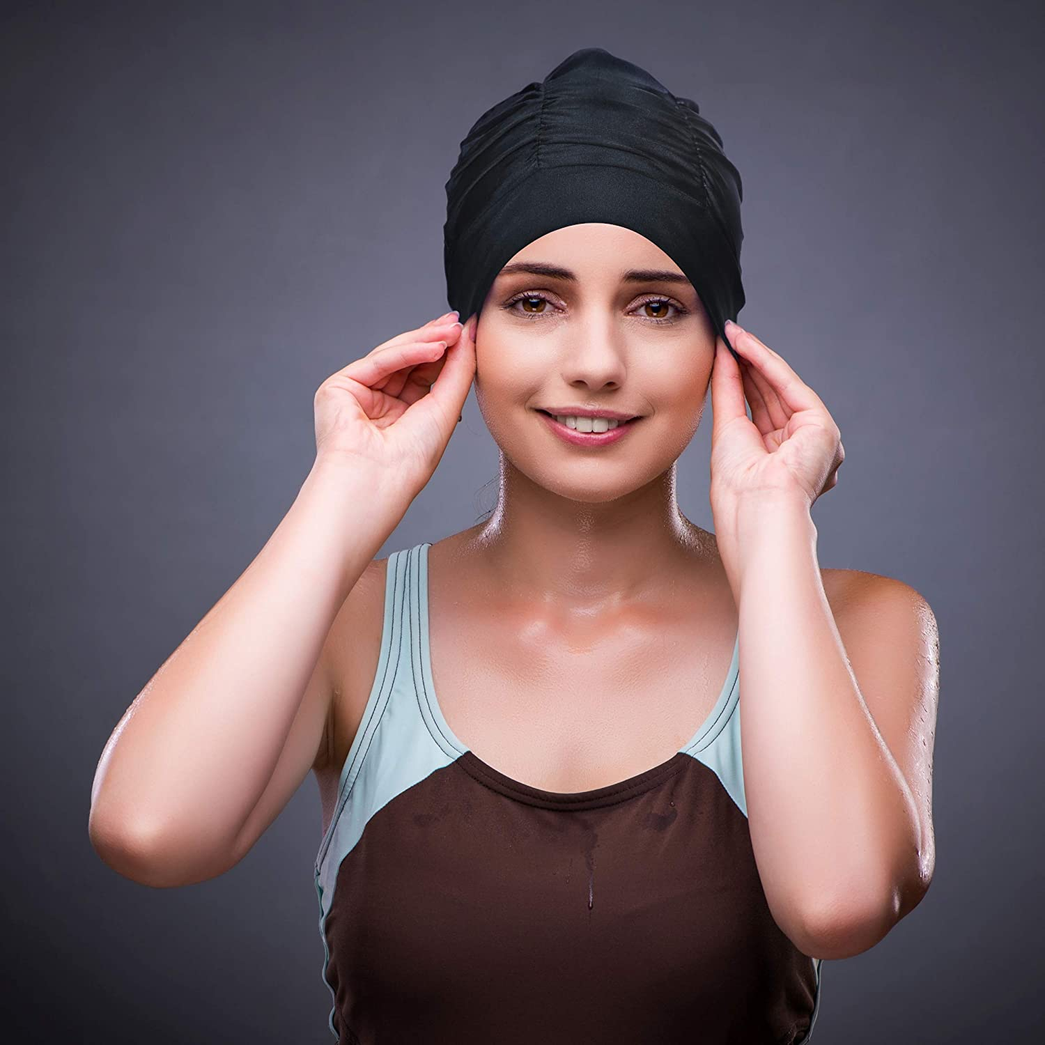 Black ETCBUYS Womens Swimming Cap in Polyester Turban Style with Pleated Latex Lining to Hold Long Hair Ideal for Women and Girls