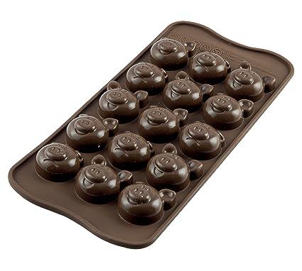 SCG35 Molde de Silicona para chocolatines con Forma de Cerdos, Color marrón