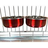Ellie-Bo Pair of Dog Bowls For Crates, Cages or Pens. Available in 4 Colours and 3 Sizes (0.9Ltr Medium, Red)