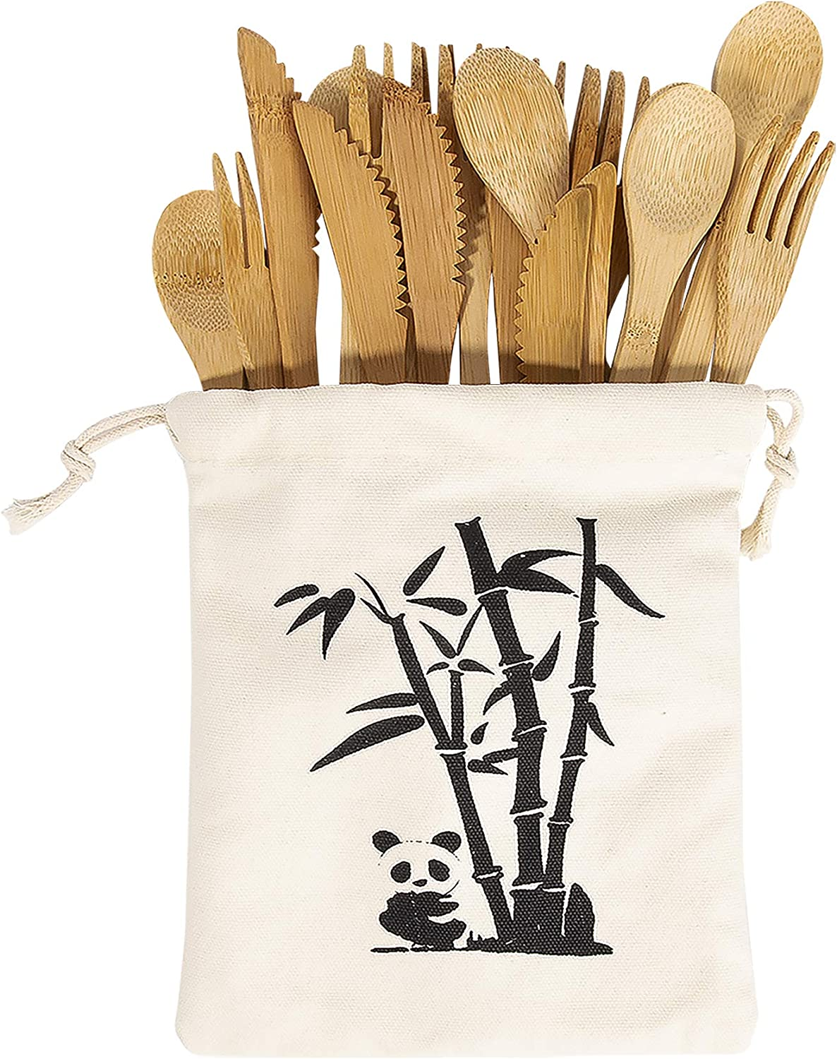 PFCTRJR Bamboo Cutlery Set -30 PCS Reusable Bamboo Utensil Fork Knife Spoon-Bamboo Flatware Sets for Camping, Travel, Picnic, Office, School,Bamboo Silverware Set with Pouch Bag