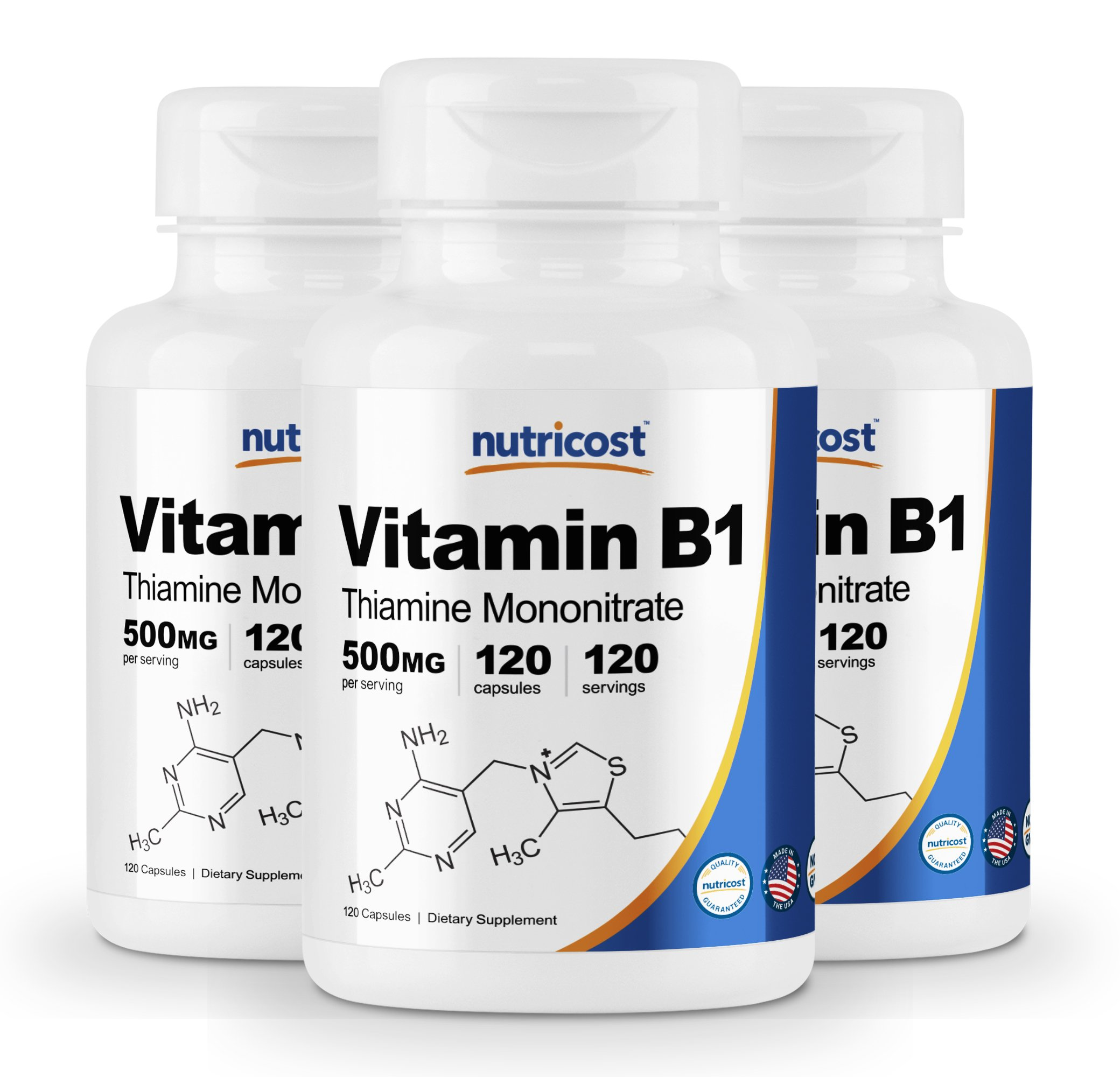 Nutricost Vitamin B1 (Thiamin) 500mg, 120 Capsules (3 Bottles) by Nutricost