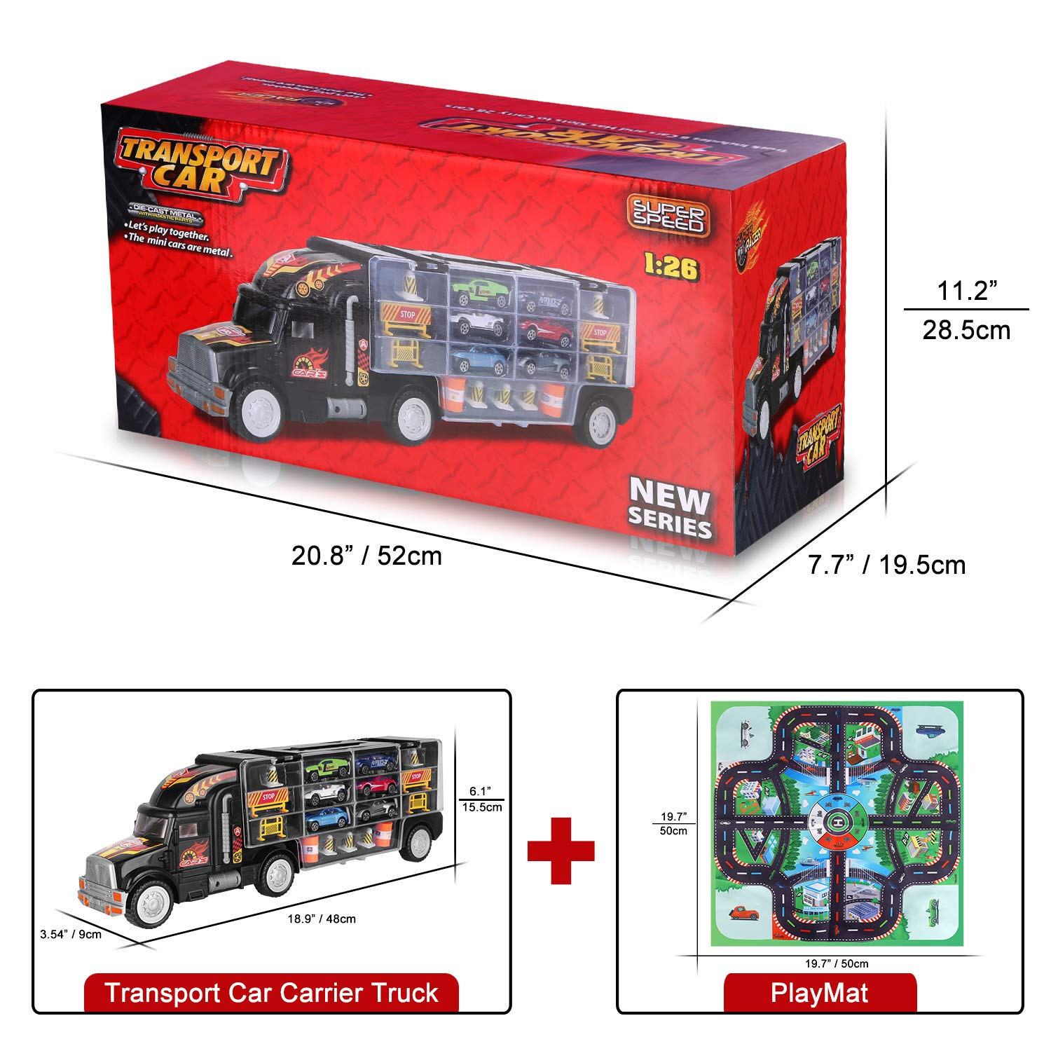 AOKESI Transport Car Carrier Truck Toy Great Gift for Boys Girls Age of 3-10 Year Old (Includes 6 Toy Cars, 2 Construction Signs,7 Road Blocks, 2 Oil Cones, 1 City Map and 1 Dice)